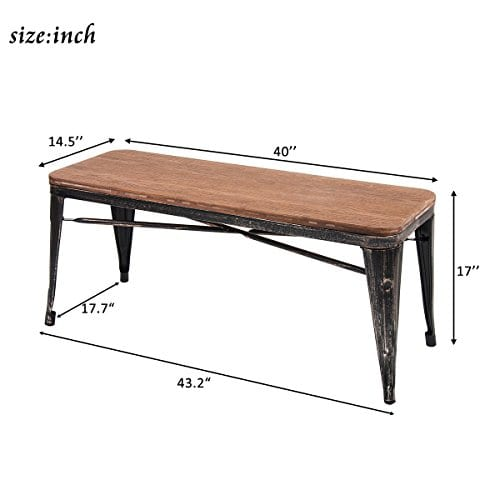 Merax Stylish Distressed Dining Table Bench With Wood Seat Panel And Metal Legs Golden Black 0 0