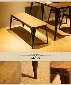 Merax Stylish Distressed Dining Table Bench With Wood Seat Panel And Metal Legs Golden Black 0 2 300x360