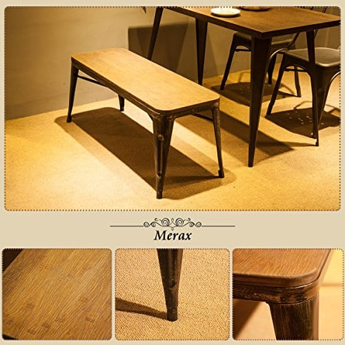 Merax Stylish Distressed Dining Table Bench With Wood Seat Panel And Metal Legs Golden Black 0 2