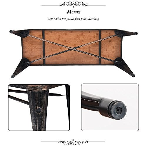 Merax Stylish Distressed Dining Table Bench With Wood Seat Panel And Metal Legs Golden Black 0 3