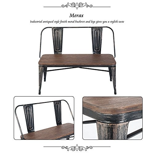 Excellent Merax Rustic Vintage Style Distressed Dining Table Bench With Wooden Seat Panel Metal Backrest And Metal Legs Distressed Black Evergreenethics Interior Chair Design Evergreenethicsorg