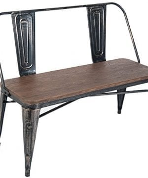 Pleasant Merax Rustic Vintage Style Distressed Dining Table Bench With Wooden Seat Panel Metal Backrest And Metal Legs Distressed Black Machost Co Dining Chair Design Ideas Machostcouk