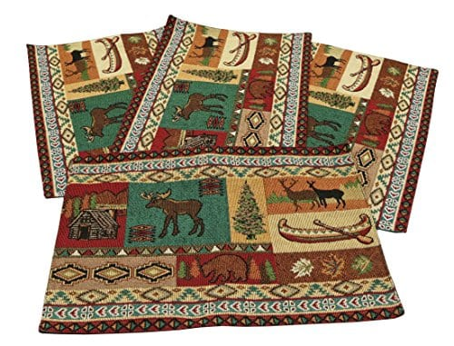 Mountain Life Jacquard Design Place Mats Set Of 4 13x19 Inches 0