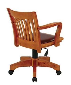 Office Star OSP Designs Deluxe Wood Bankers Desk Chair With Black Vinyl Padded Seat Fruit Wood 0 0 300x360