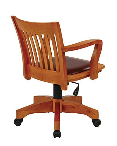 Office Star OSP Designs Deluxe Wood Bankers Desk Chair With Black Vinyl Padded Seat Fruit Wood 0 0