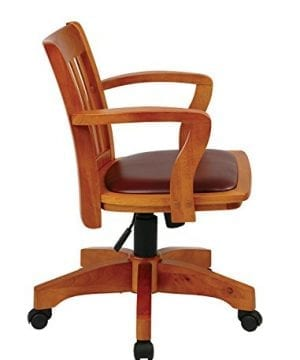 Office Star OSP Designs Deluxe Wood Bankers Desk Chair With Black Vinyl Padded Seat Fruit Wood 0 1 300x360