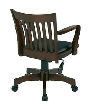 Office Star OSP Designs Deluxe Wood Bankers Desk Chair With Black Vinyl Padded Seat Fruit Wood 0 300x360