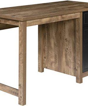 OneSpace 50 JN23DSK Norwood Range 3 Drawer Locker Writing Desk Classic Oak Black Metal 0 300x360