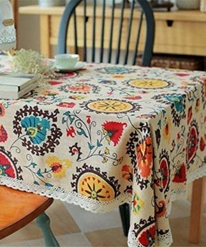 Oyeahbridal Country Style Vintage Cotton Linen Tablecloth Lace Macrame Decorative Fabric Dining Table Cover 0 0 300x360