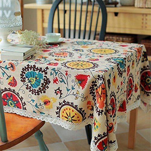 Oyeahbridal Country Style Vintage Cotton Linen Tablecloth Lace Macrame Decorative Fabric Dining Table Cover 0 0