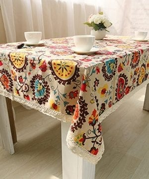 Oyeahbridal Country Style Vintage Cotton Linen Tablecloth Lace Macrame Decorative Fabric Dining Table Cover 0 2 300x360