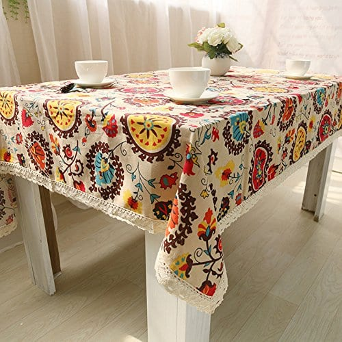 Oyeahbridal Country Style Vintage Cotton Linen Tablecloth Lace Macrame Decorative Fabric Dining Table Cover 0 2