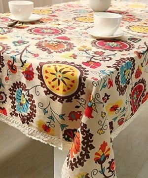 Oyeahbridal Country Style Vintage Cotton Linen Tablecloth Lace Macrame Decorative Fabric Dining Table Cover 0 300x360
