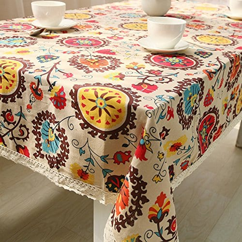 Oyeahbridal Country Style Vintage Cotton Linen Tablecloth Lace Macrame Decorative Fabric Dining Table Cover 0