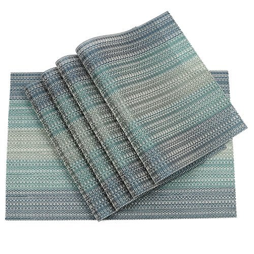 Pauwer Placemats Set Of 6 Crossweave Woven Vinyl Placemat Kitchen Table Heat Resistant Non Slip Kitchen Table Mats Easy To Clean 0 0