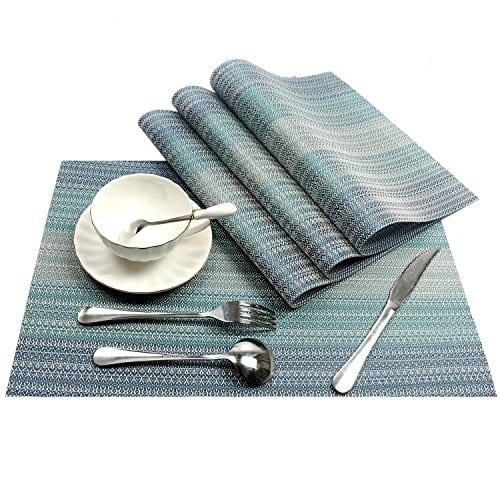 Pauwer Placemats Set Of 6 Crossweave Woven Vinyl Placemat Kitchen Table Heat Resistant Non Slip Kitchen Table Mats Easy To Clean 0 1