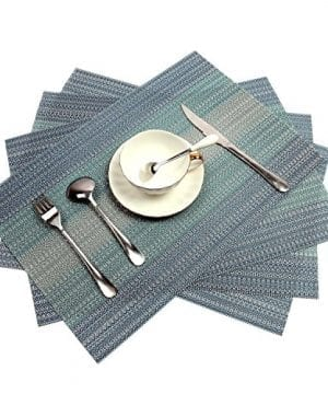 Pauwer Placemats Set Of 6 Crossweave Woven Vinyl Placemat Kitchen Table Heat Resistant Non Slip Kitchen Table Mats Easy To Clean 0 300x360
