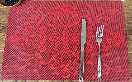 Placemats Ivalue PVC Place Mats Washable Bamboo Placemats For Table Non Slip Woven Plastic Table Mats 0 1