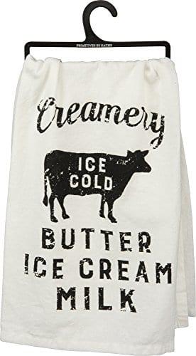 Primitives By Kathy Creamery Ice Cold Butter Ice Cream Milk Cotton Kitchen Towel 28 In 0