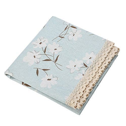 Rectangle Tablecloth Farmhouse Style Blue Flower Printing Waterproof Oilproof Tablecovers 90x90CM Perfect For Holiday Home Decor 0 2