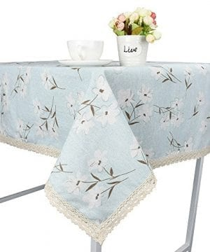 Rectangle Tablecloth Farmhouse Style Blue Flower Printing Waterproof Oilproof Tablecovers 90x90CM Perfect For Holiday Home Decor 0 300x360