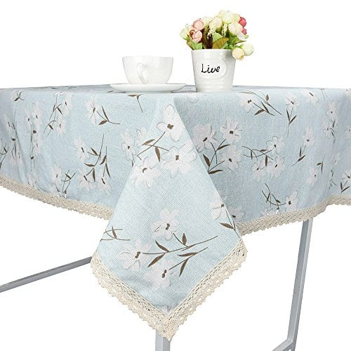 Rectangle Tablecloth Farmhouse Style Blue Flower Printing Waterproof Oilproof Tablecovers 90x90CM Perfect For Holiday Home Decor 0