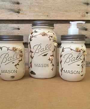 Rustic Ivory And Bronze Mason Jar Bathroom Set Or Office Desk Organizer 0 0 300x360