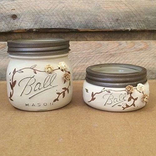 Rustic Ivory And Bronze Mason Jar Bathroom Set Or Office Desk Organizer 0 1