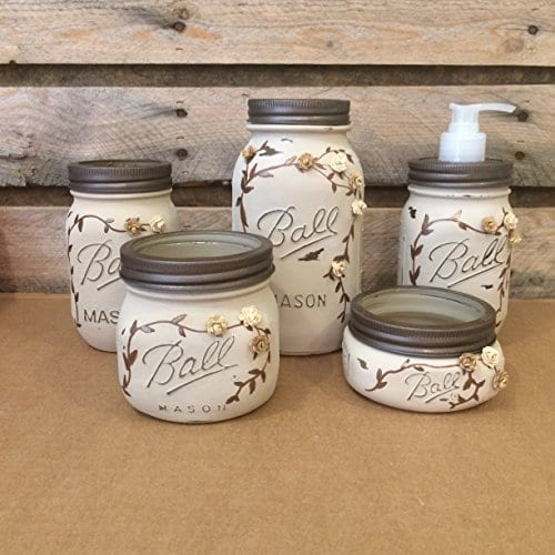 Rustic Ivory And Bronze Mason Jar Bathroom Set Or Office Desk Organizer 0
