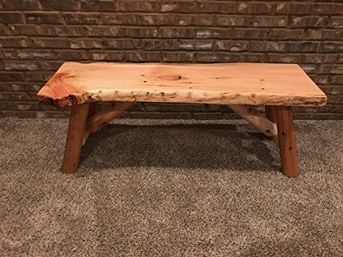 Rustic Log Bench Pine And Cedar With Live Edge Furniture 0