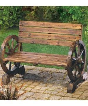 Rustic Wood Design Home Garden Wagon Wheel Bench Decor 0 0 300x360
