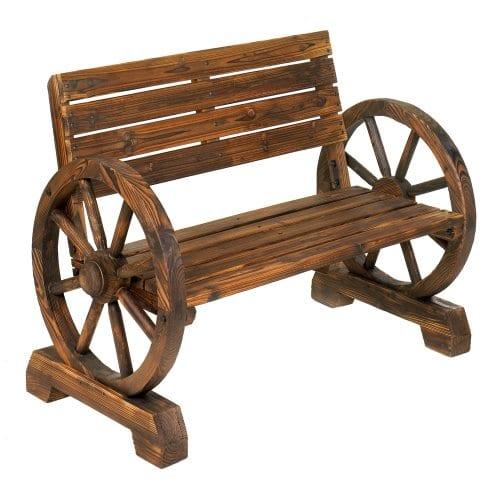 Rustic Wood Design Home Garden Wagon Wheel Bench Decor 0