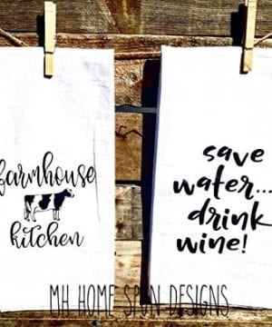 SET OF 2 Matching Farmhouse Inspired Flour Sacks Kitchen Towels Housewarming Gifts Christmas Gifts 0 0 300x360