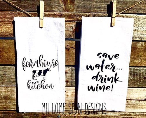 SET OF 2 Matching Farmhouse Inspired Flour Sacks Kitchen Towels Housewarming Gifts Christmas Gifts 0 0