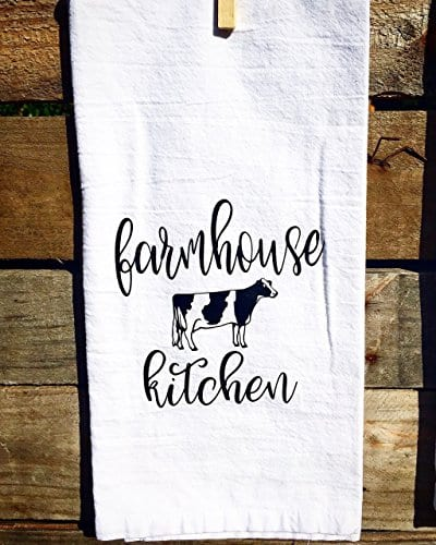 SET OF 2 Matching Farmhouse Inspired Flour Sacks Kitchen Towels Housewarming Gifts Christmas Gifts 0 1