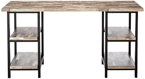Skelton Writing Desk With Metal Frame Salvaged Cabin And Black 0 0