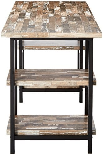 Skelton Writing Desk With Metal Frame Salvaged Cabin And Black 0 1