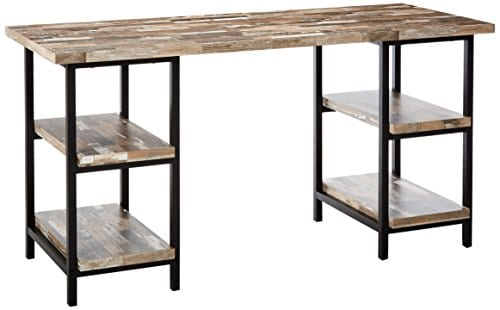 Skelton Writing Desk With Metal Frame Salvaged Cabin And Black 0