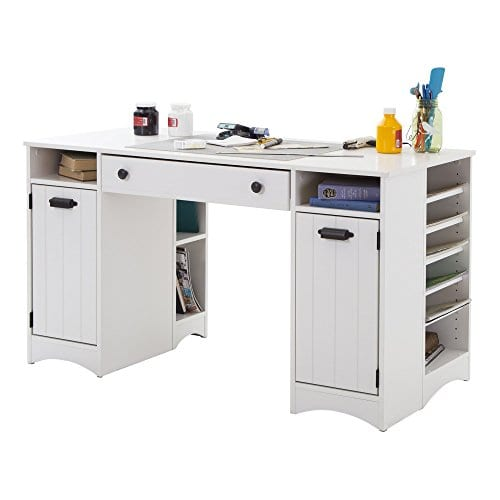 South Shore Artwork Craft Table With Storage Pure White 0 0