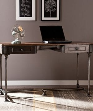 Southern Enterprises Edison Industrial 2 Drawer Desk 50 Wide Dark Tobacco Industrial Gray Finish 0 0 300x360