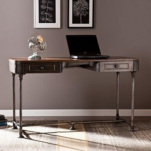 Southern Enterprises Edison Industrial 2 Drawer Desk 50 Wide Dark Tobacco Industrial Gray Finish 0 0