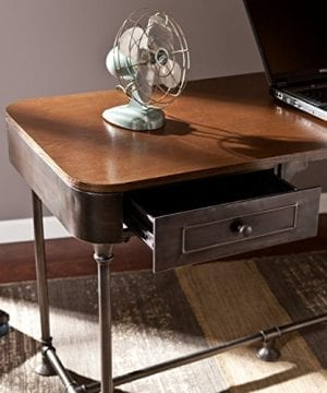 Southern Enterprises Edison Industrial 2 Drawer Desk 50 Wide Dark Tobacco Industrial Gray Finish 0 1 300x360