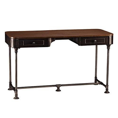 Southern Enterprises Edison Industrial 2 Drawer Desk 50 Wide Dark Tobacco Industrial Gray Finish 0 2