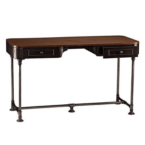 Southern Enterprises Edison Industrial 2 Drawer Desk 50 Wide Dark Tobacco Industrial Gray Finish 0 3