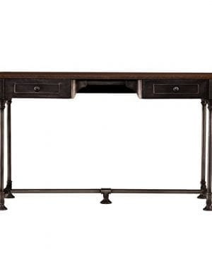 Southern Enterprises Edison Industrial 2 Drawer Desk 50 Wide Dark Tobacco Industrial Gray Finish 0 300x360