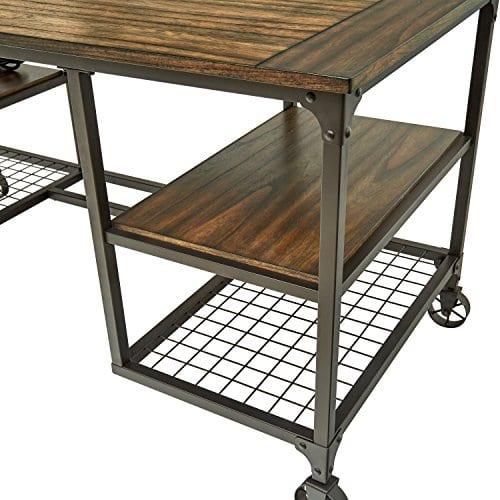 Stone Beam Elias Industrial Metal Desk 60W BrownBlack 0 3