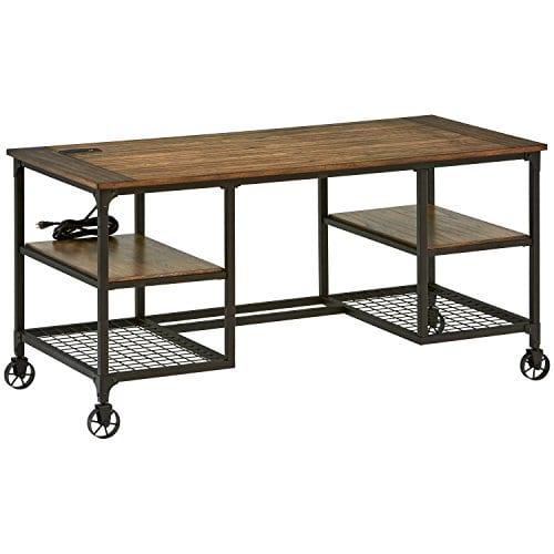 Stone Beam Elias Industrial Metal Desk 60W BrownBlack 0
