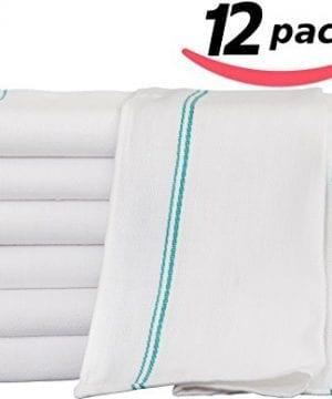 Utopia Towels 12 Premium Cotton Kitchen Dish Towels 24 Oz Side Stripe 0 300x360