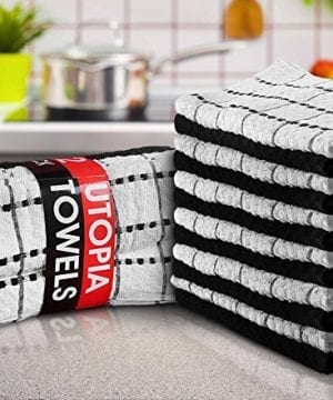 Utopia Towels Kitchen Towels 12 Pack 15 X 25 Inch Cotton Machine Washable Extra Soft Set Of 12 Black White Dobby Weave Dish Towels Tea Towels Bar Towels 0 0 300x360