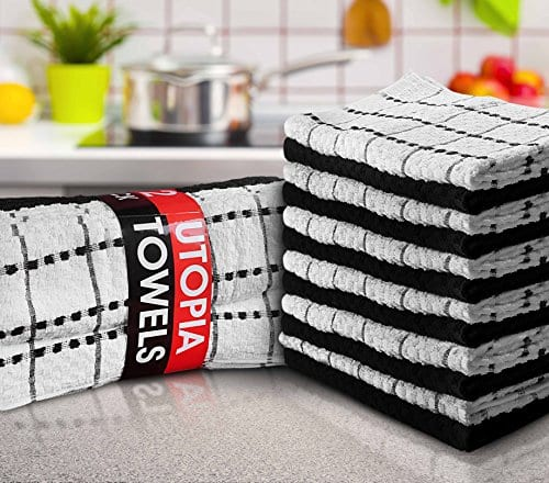 Utopia Towels Kitchen Towels 12 Pack 15 X 25 Inch Cotton Machine Washable Extra Soft Set Of 12 Black White Dobby Weave Dish Towels Tea Towels Bar Towels 0 0